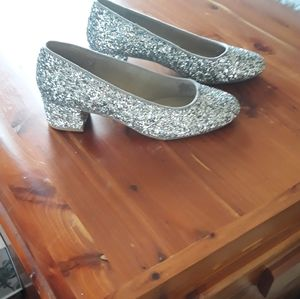 New glitter round toe heels